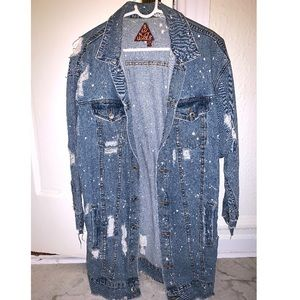 Vintage style Long Distressed Denim Jacket